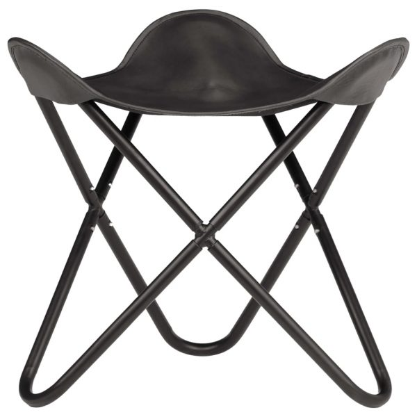 Butterfly Stool Black Real Leather 3