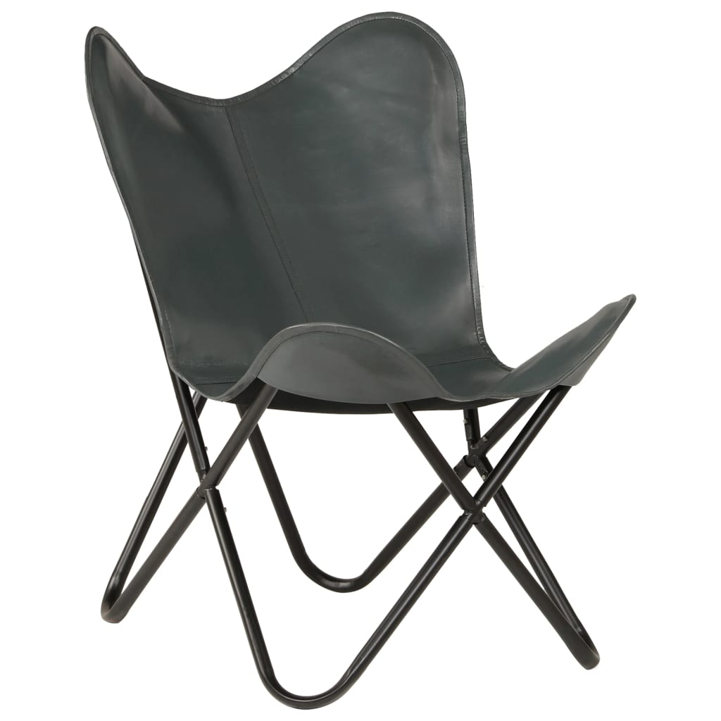 Butterfly Chair Grey Kids Size Real Leather 1