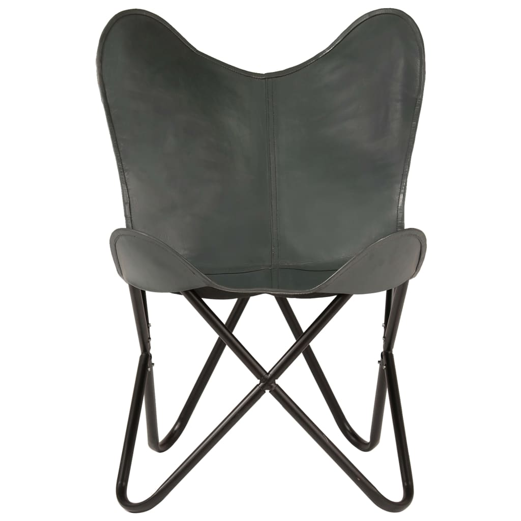 Butterfly Chair Grey Kids Size Real Leather 6