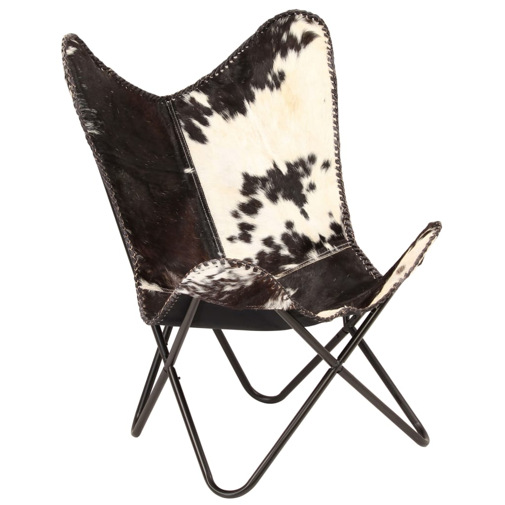 Butterfly Chair Black and White Genuine Goat Leather
