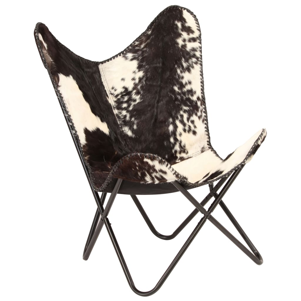 Butterfly Chair Black and White Genuine Goat Leather 11