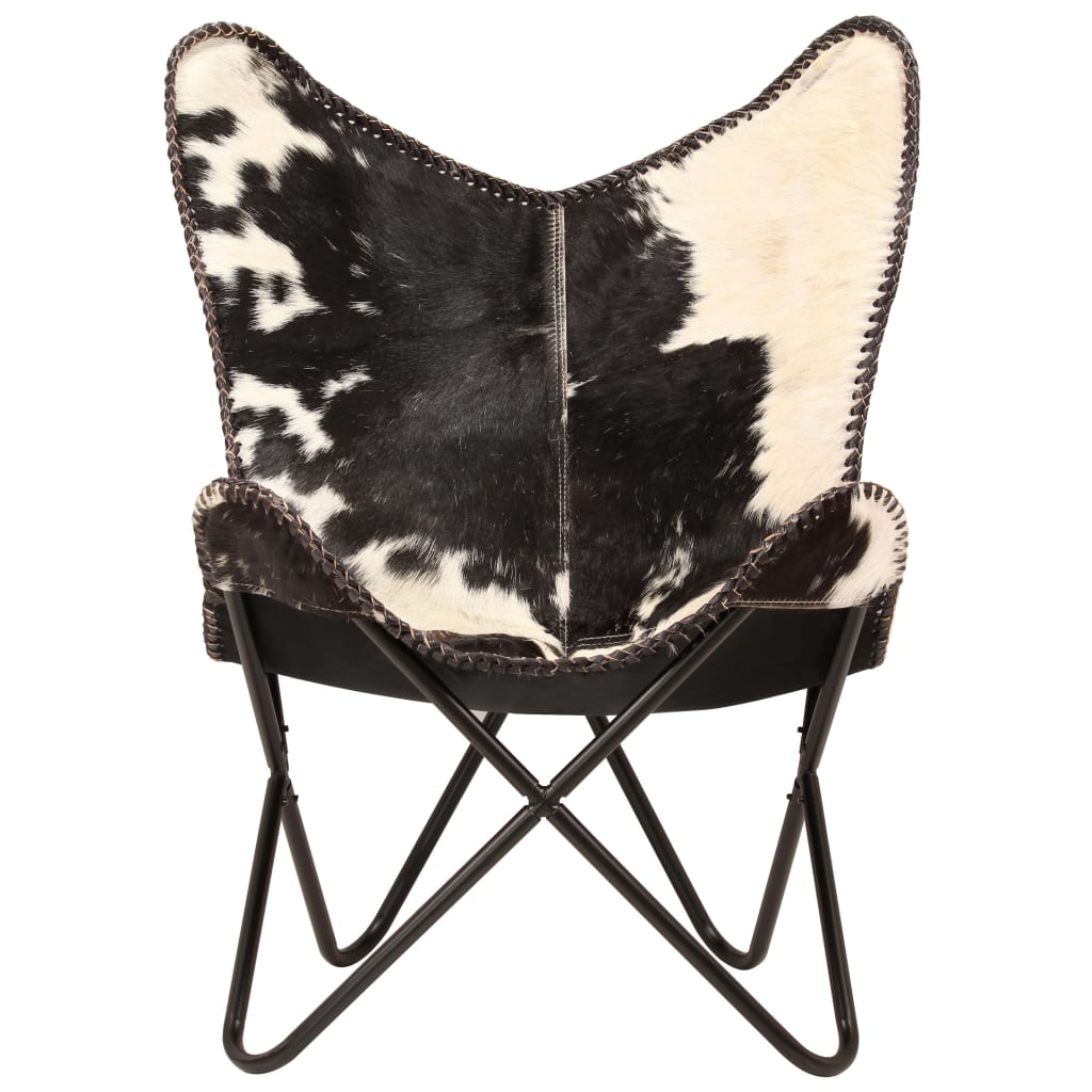 Butterfly Chair Black and White Genuine Goat Leather 3