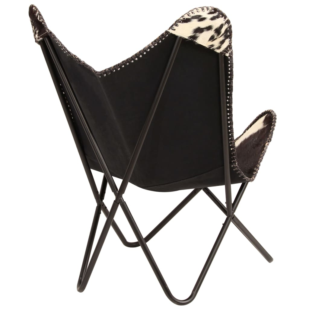 Butterfly Chair Black and White Genuine Goat Leather 4