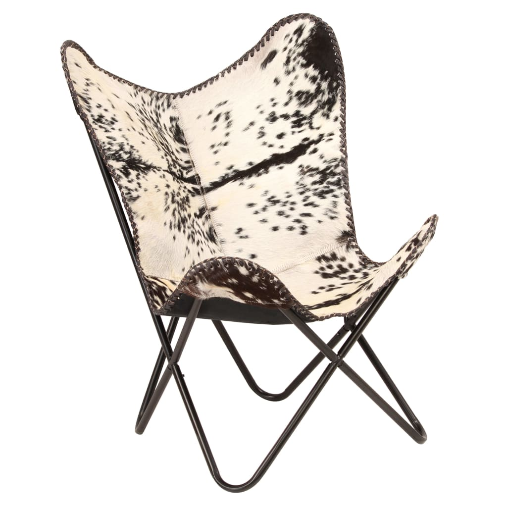 Butterfly Chair Black and White Genuine Goat Leather 8