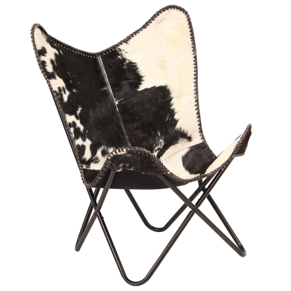 Butterfly Chair Black and White Genuine Goat Leather 9