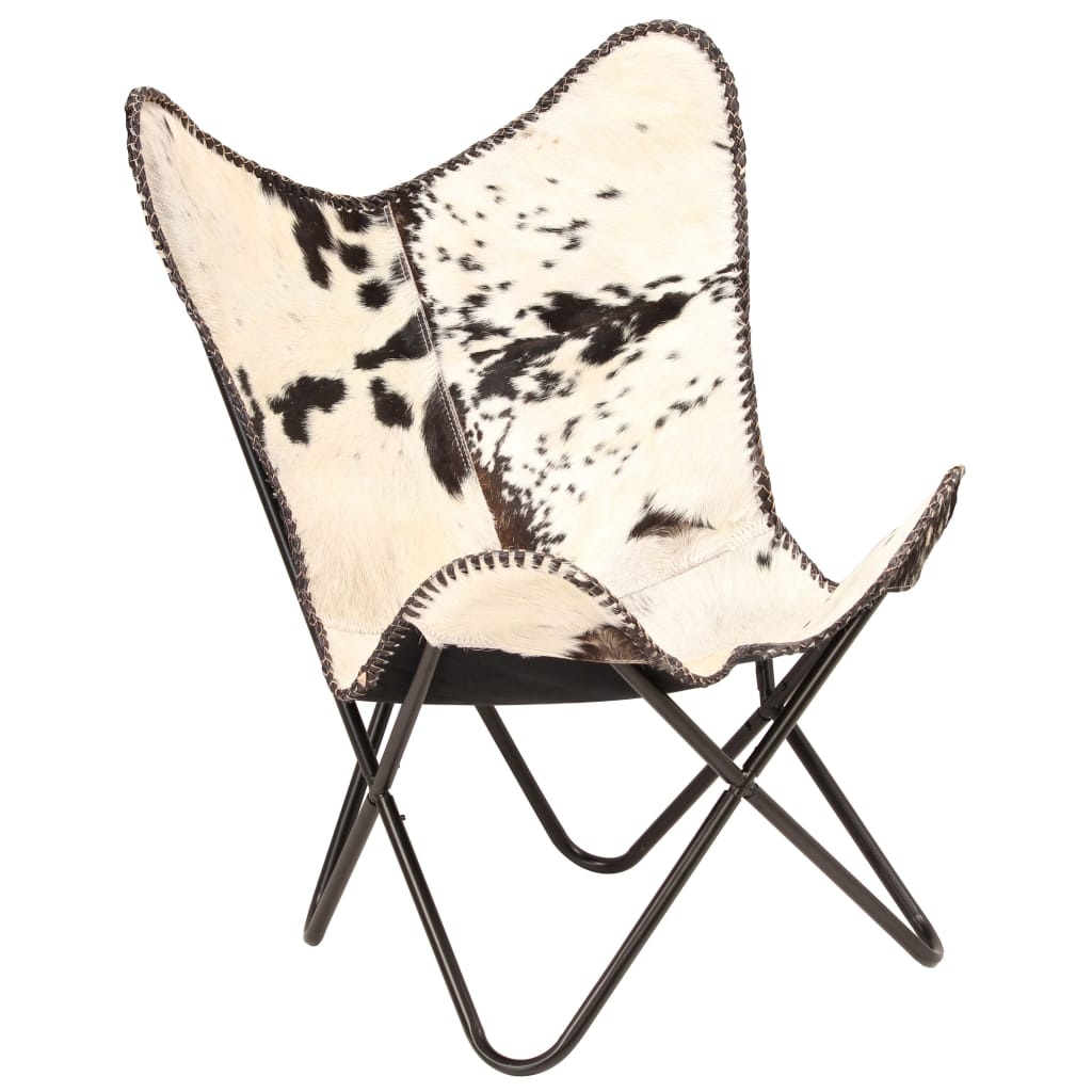 Butterfly Chair Black and White Genuine Goat Leather 10