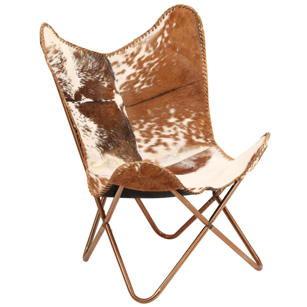 Butterfly Chair Brown and White Genuine Goat Leather 1