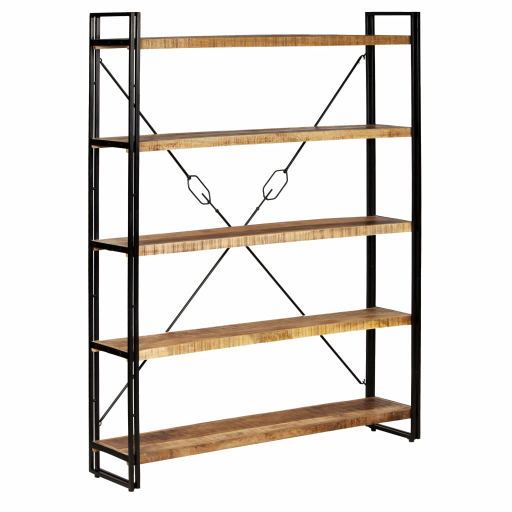 5-Tier Bookcase Solid Mango Wood and Steel 140x30x180 cm 1
