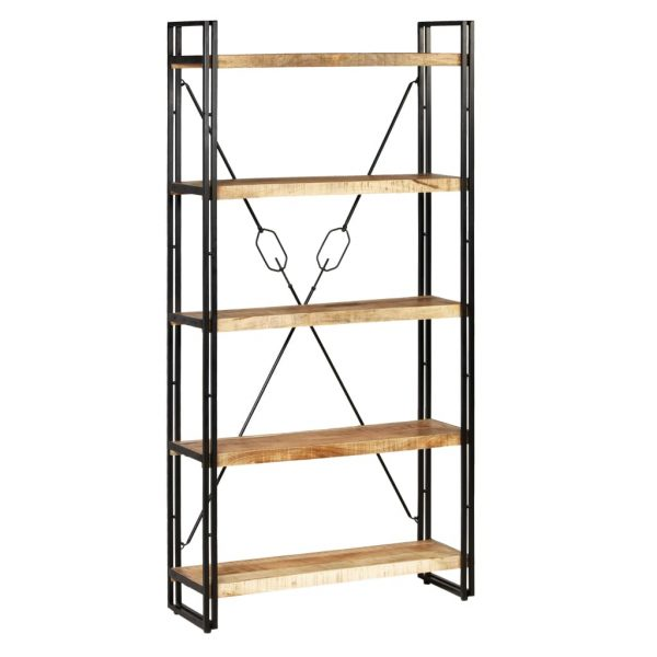 5-Tier Bookcase Solid Mango Wood and Steel 90x30x180 cm 1