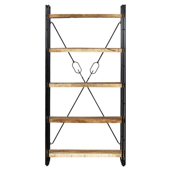 5-Tier Bookcase Solid Mango Wood and Steel 90x30x180 cm 2