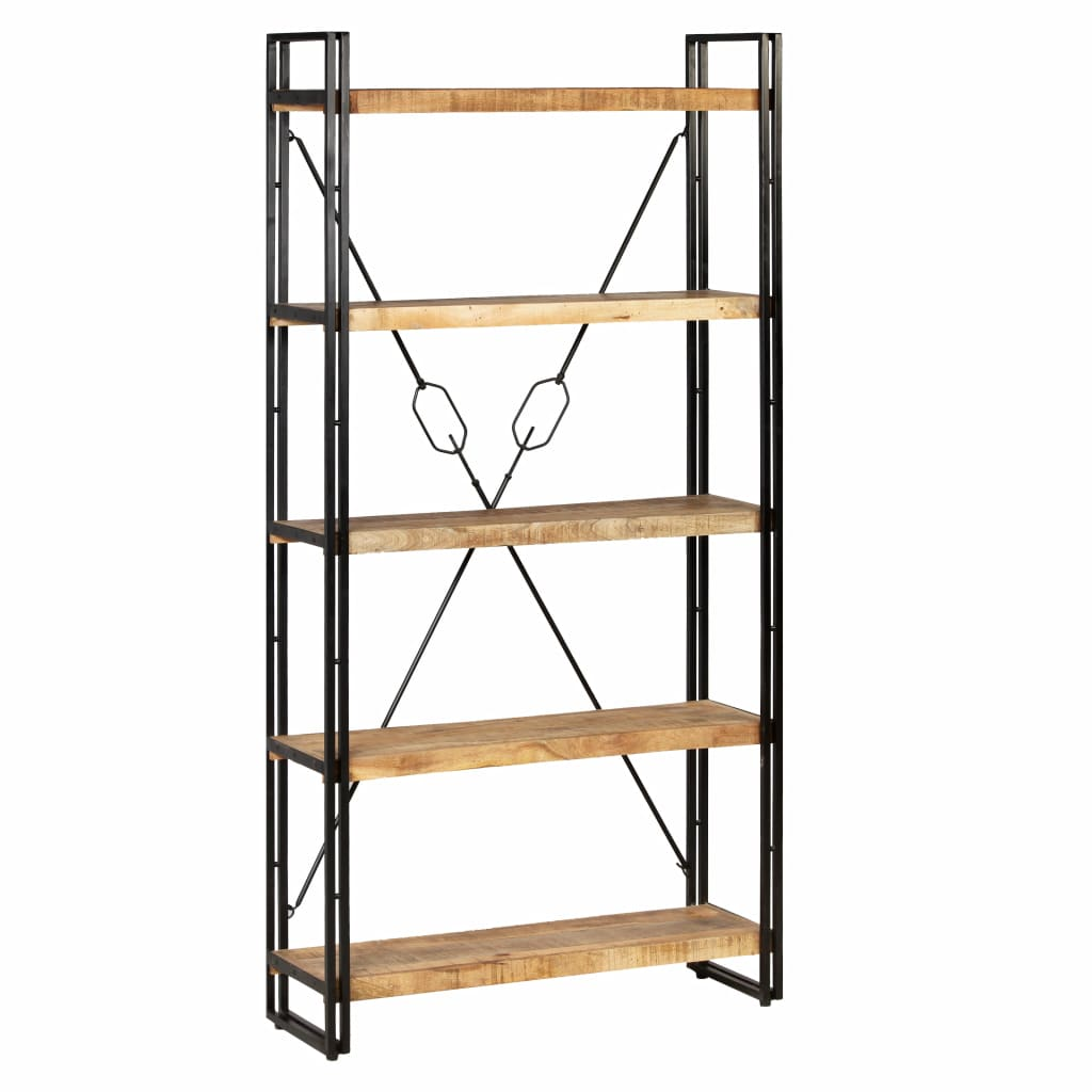 5-Tier Bookcase Solid Mango Wood and Steel 90x30x180 cm 11