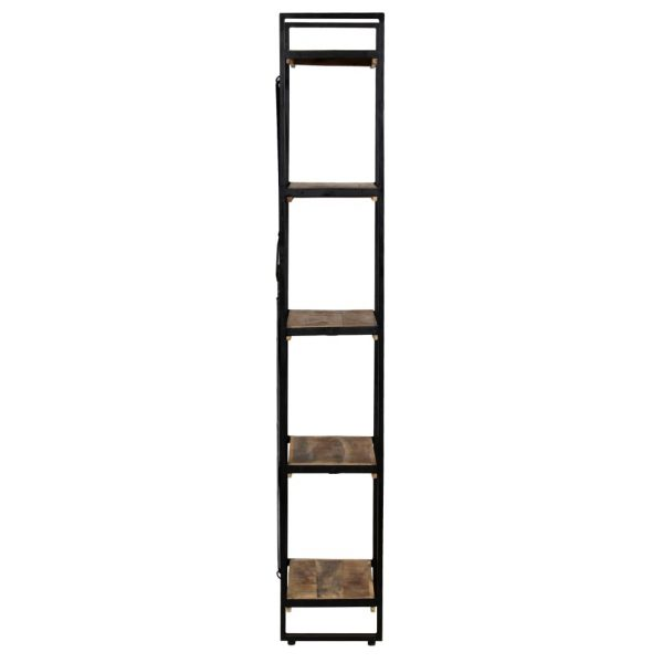 5-Tier Bookcase Solid Mango Wood and Steel 90x30x180 cm 3