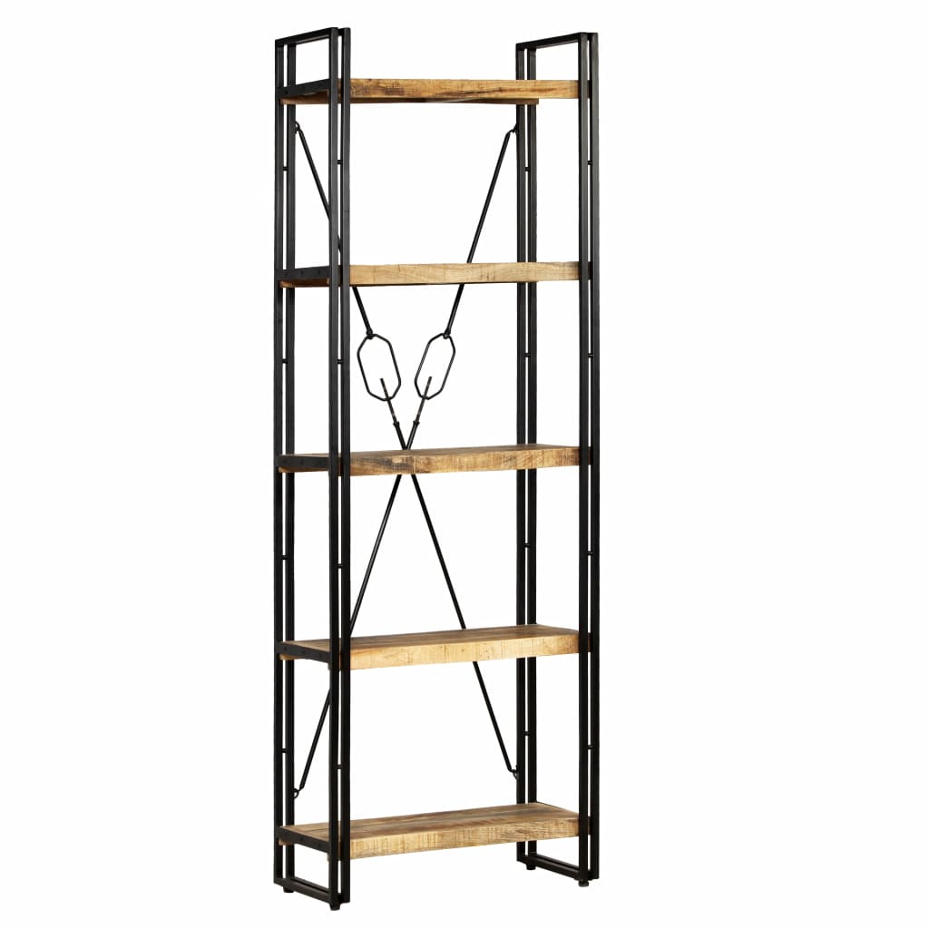 5-Tier Bookcase Solid Mango Wood and Steel 60x30x180 cm 1