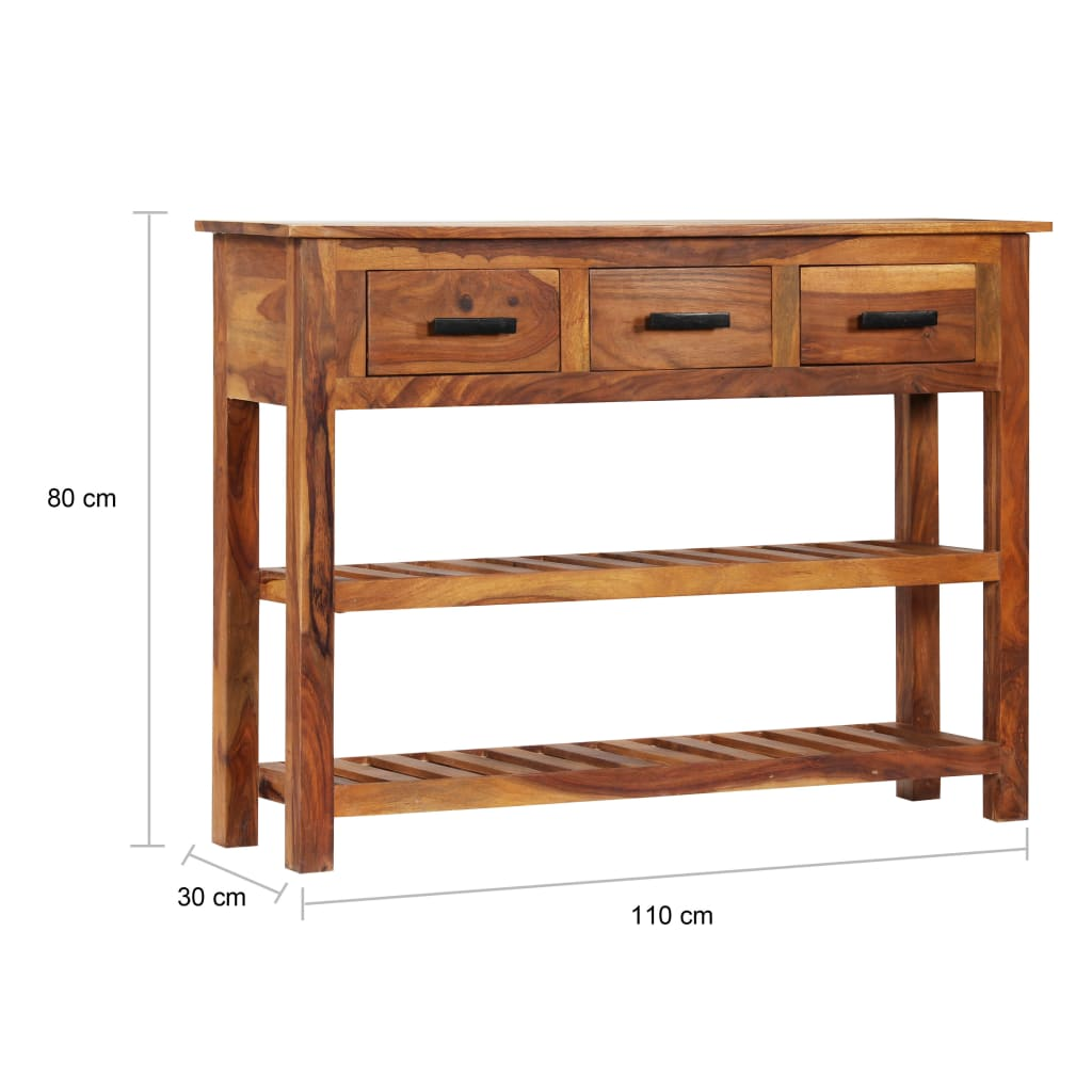 Sideboard with 3 Drawers 110x30x80 cm Solid Sheesham Wood 9