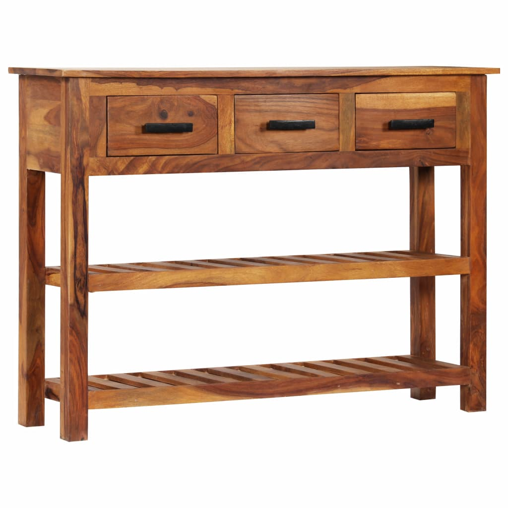 Sideboard with 3 Drawers 110x30x80 cm Solid Sheesham Wood 10