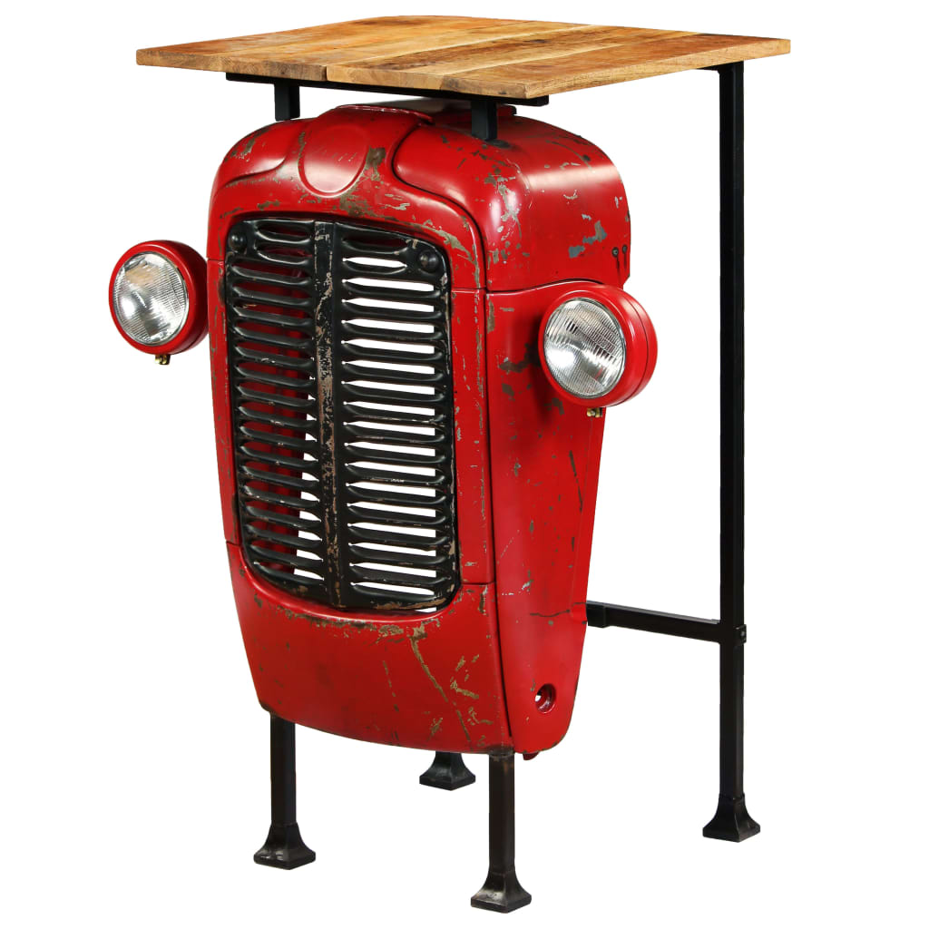 Tractor Bar Table Solid Mango Wood Red 60x60x107 cm 1