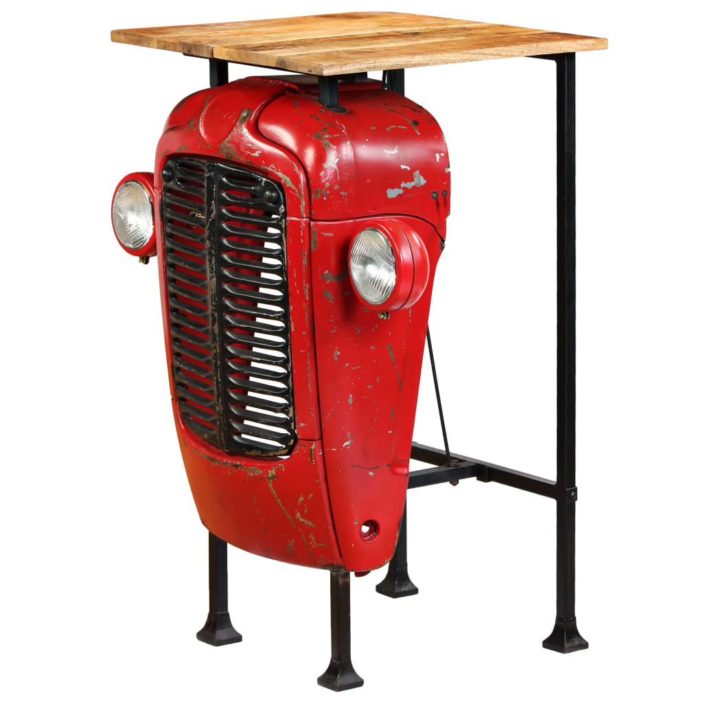 Tractor Bar Table Solid Mango Wood Red 60x60x107 cm 4