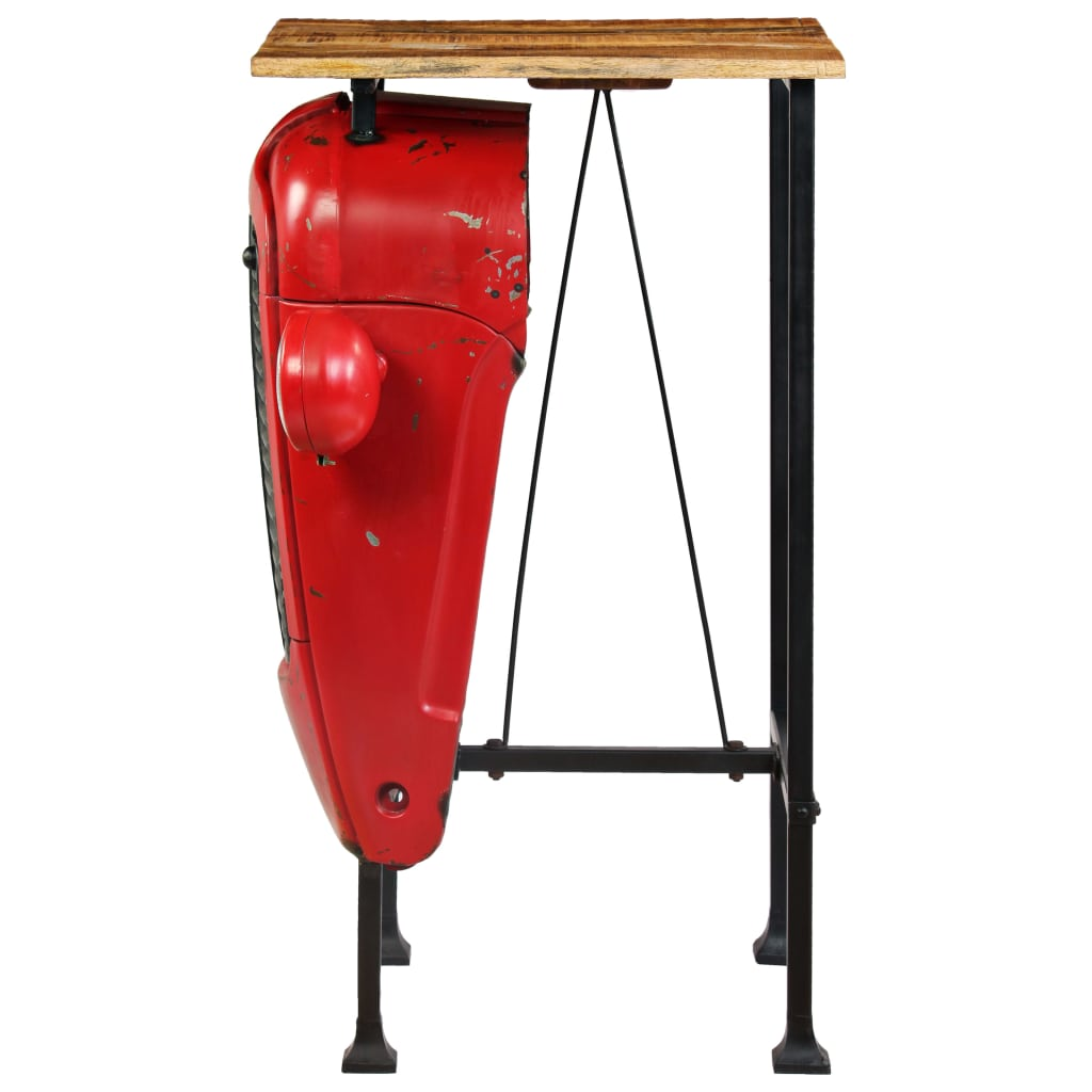 Tractor Bar Table Solid Mango Wood Red 60x60x107 cm 5
