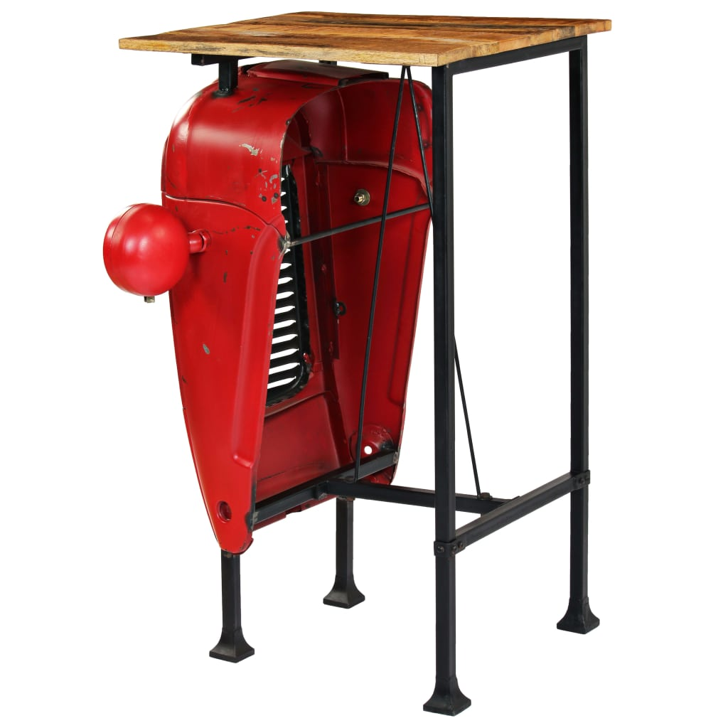 Tractor Bar Table Solid Mango Wood Red 60x60x107 cm 6