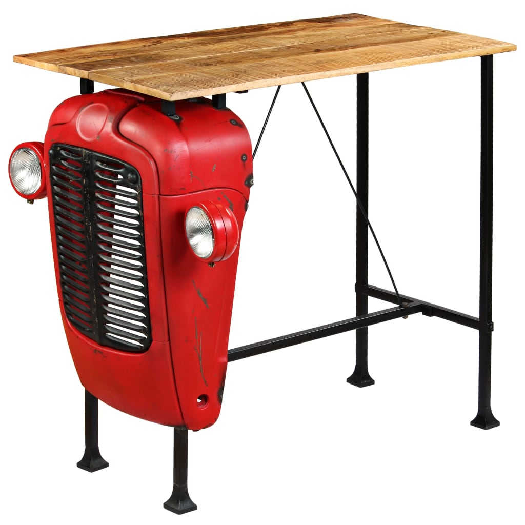 Tractor Bar Table Solid Mango Wood Red 60x120x107 cm 2