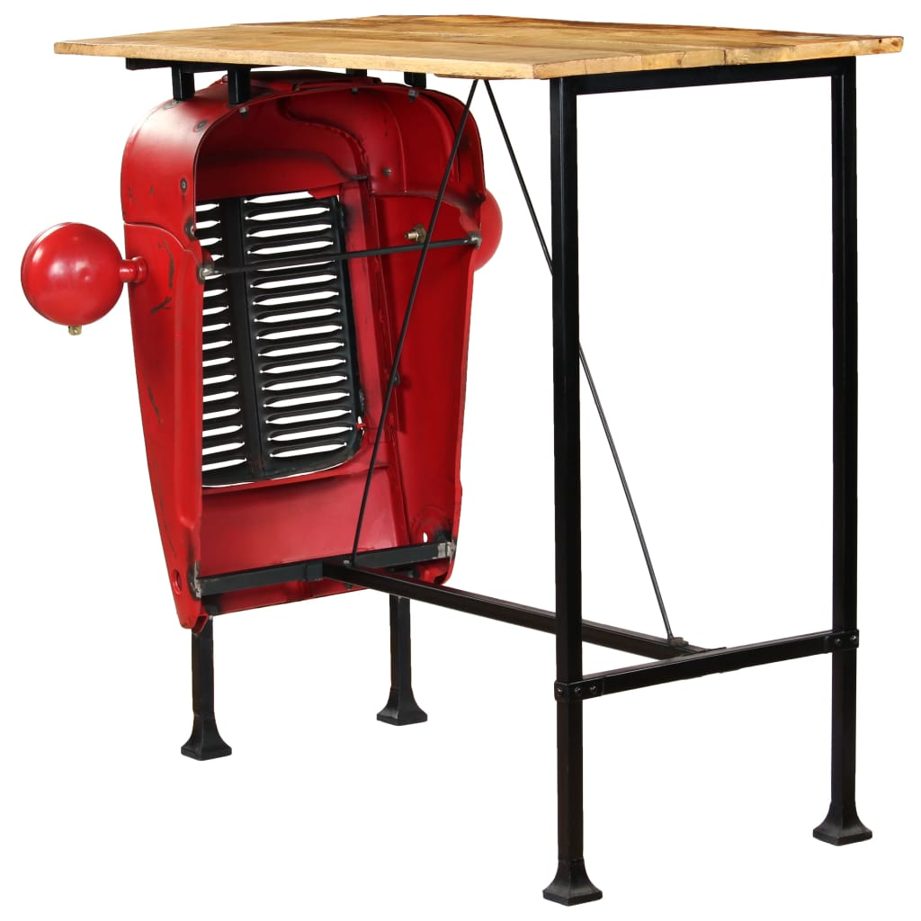 Tractor Bar Table Solid Mango Wood Red 60x120x107 cm 4