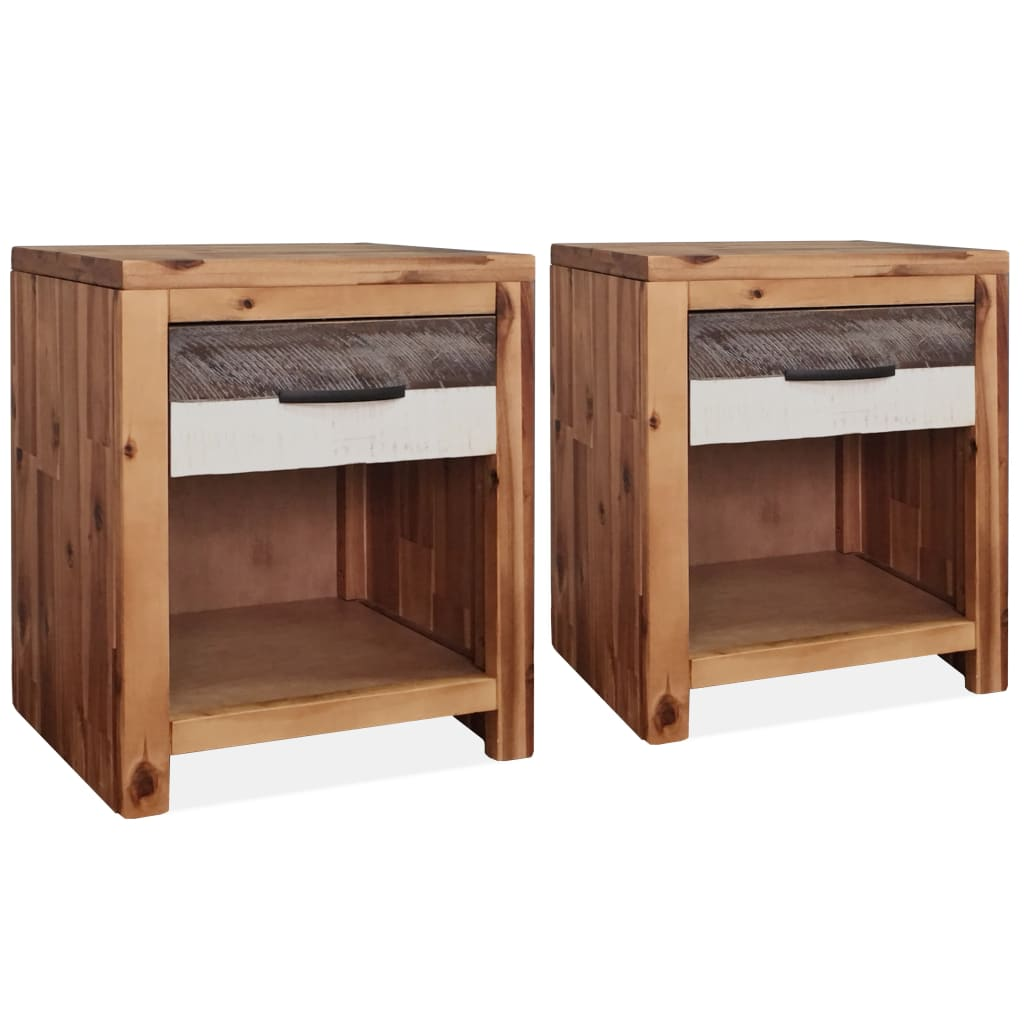 Bedside Tables 2 pcs Solid Acacia Wood 40x30x48 cm