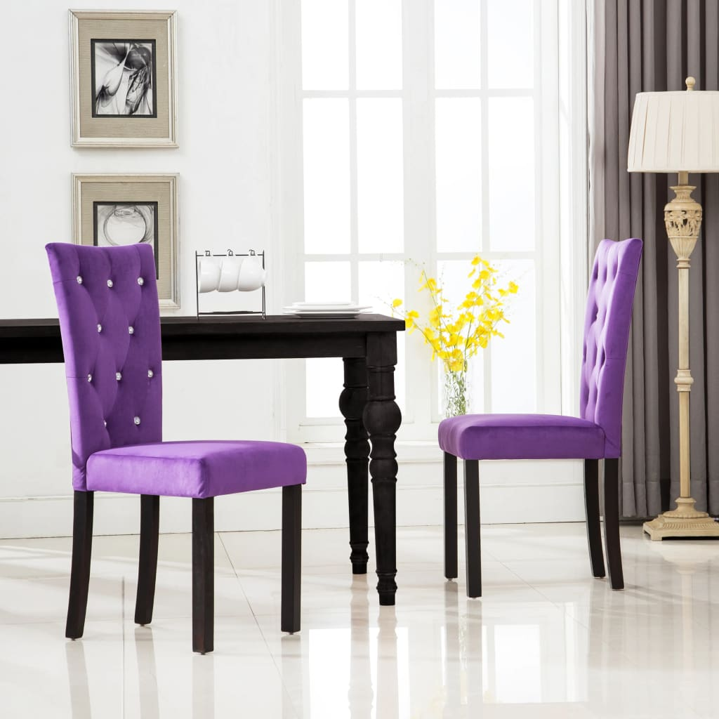 Dining Chairs 2 pcs Purple Velvet