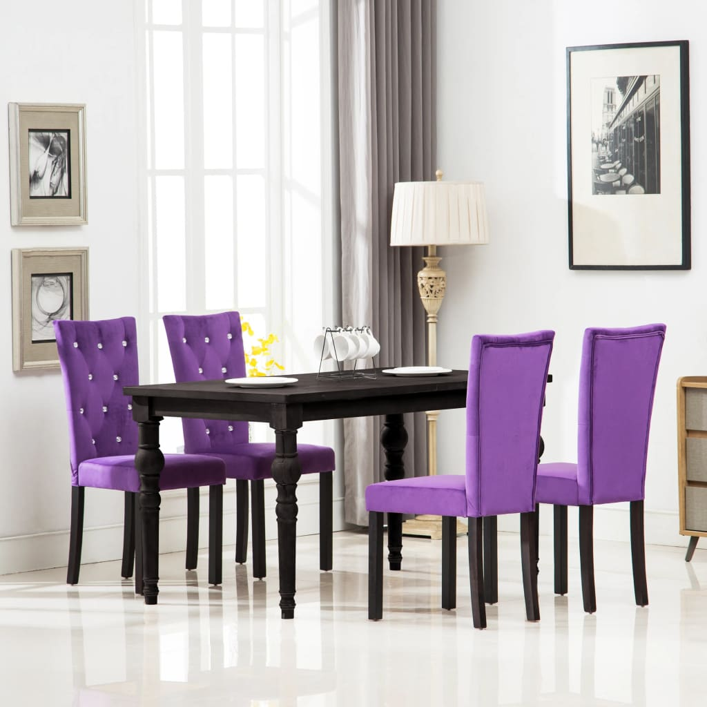 Dining Chairs 4 pcs Purple Velvet 1