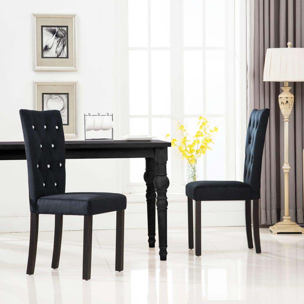 Dining Chairs 2 pcs Black Velvet 1