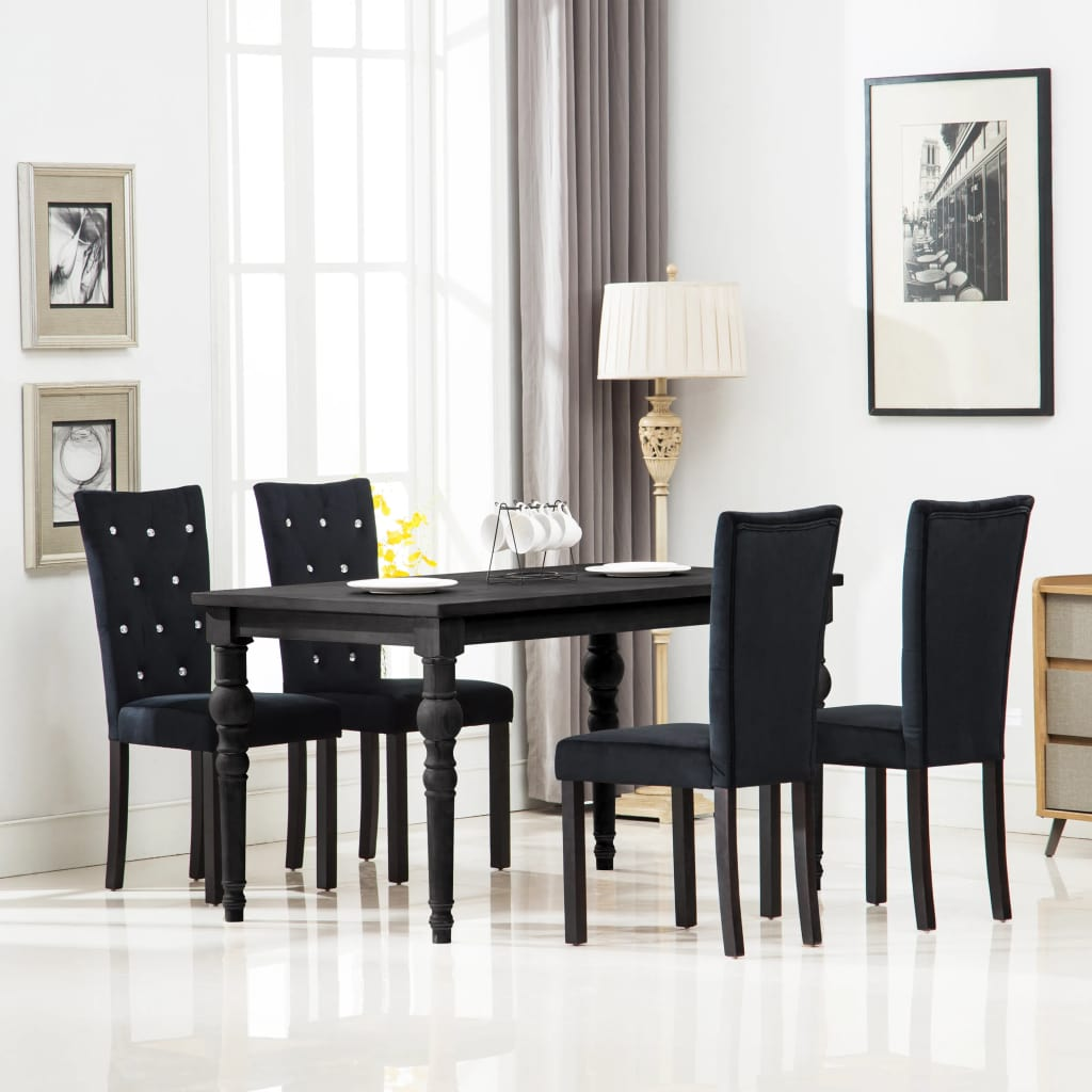 Dining Chairs 4 pcs Black Velvet
