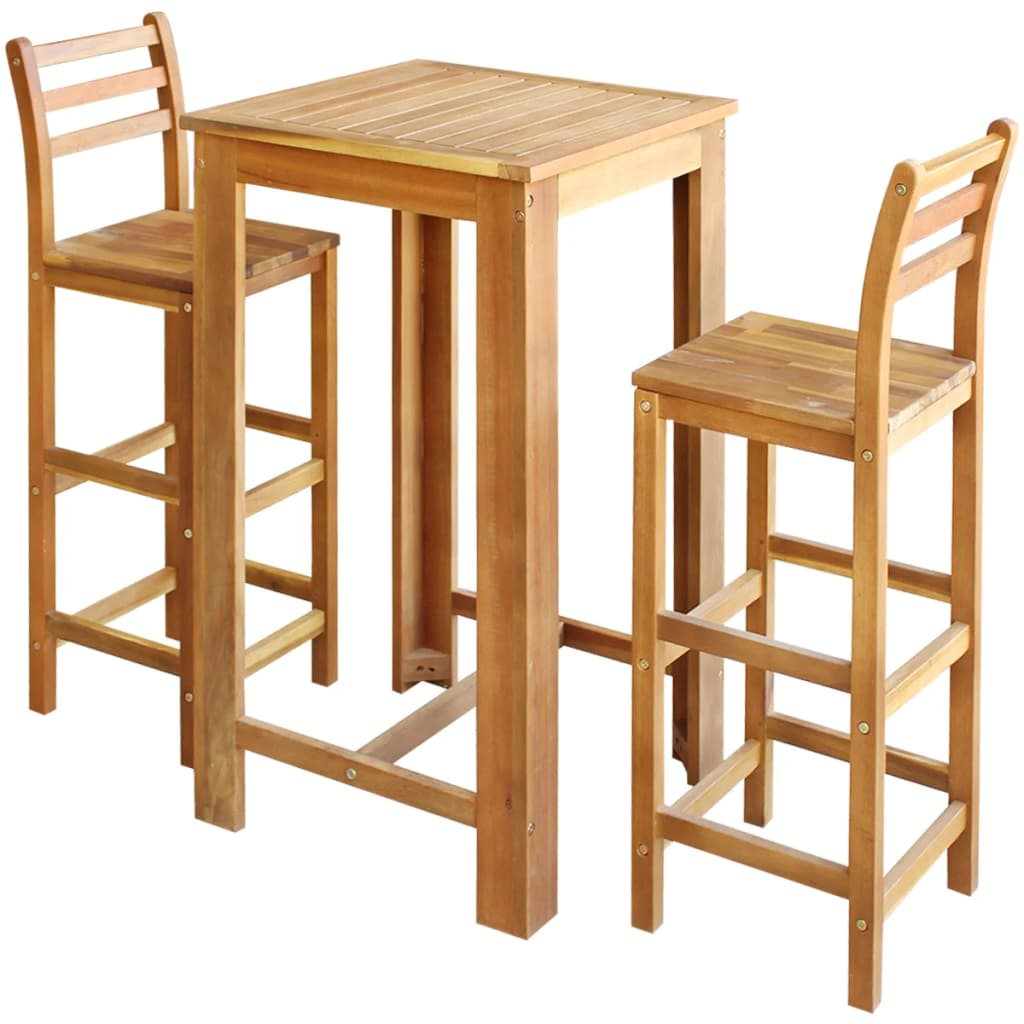 Bar Table and Chair Set 3 Pieces Solid Acacia Wood 1