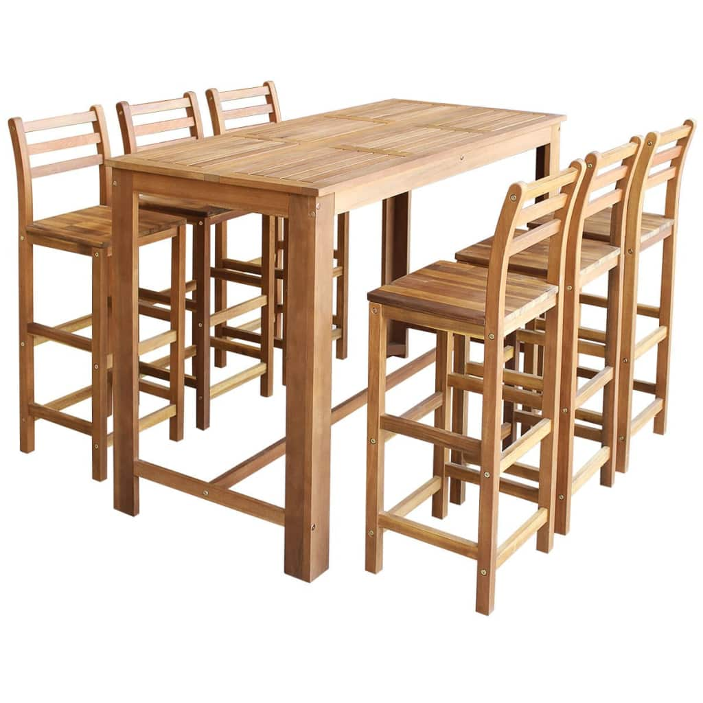 Bar Table and Chair Set 7 Pieces Solid Acacia Wood 1
