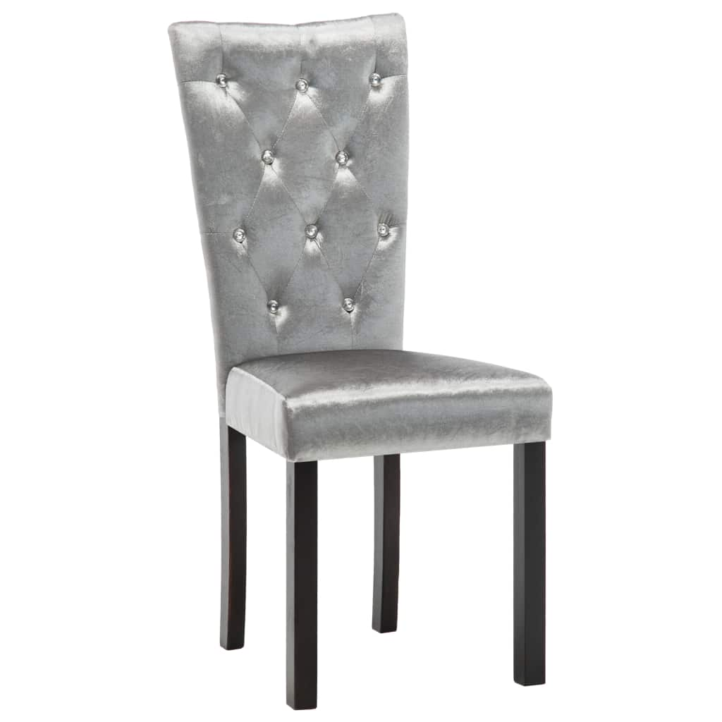 Dining Chairs 6 pcs Silver Velvet 4