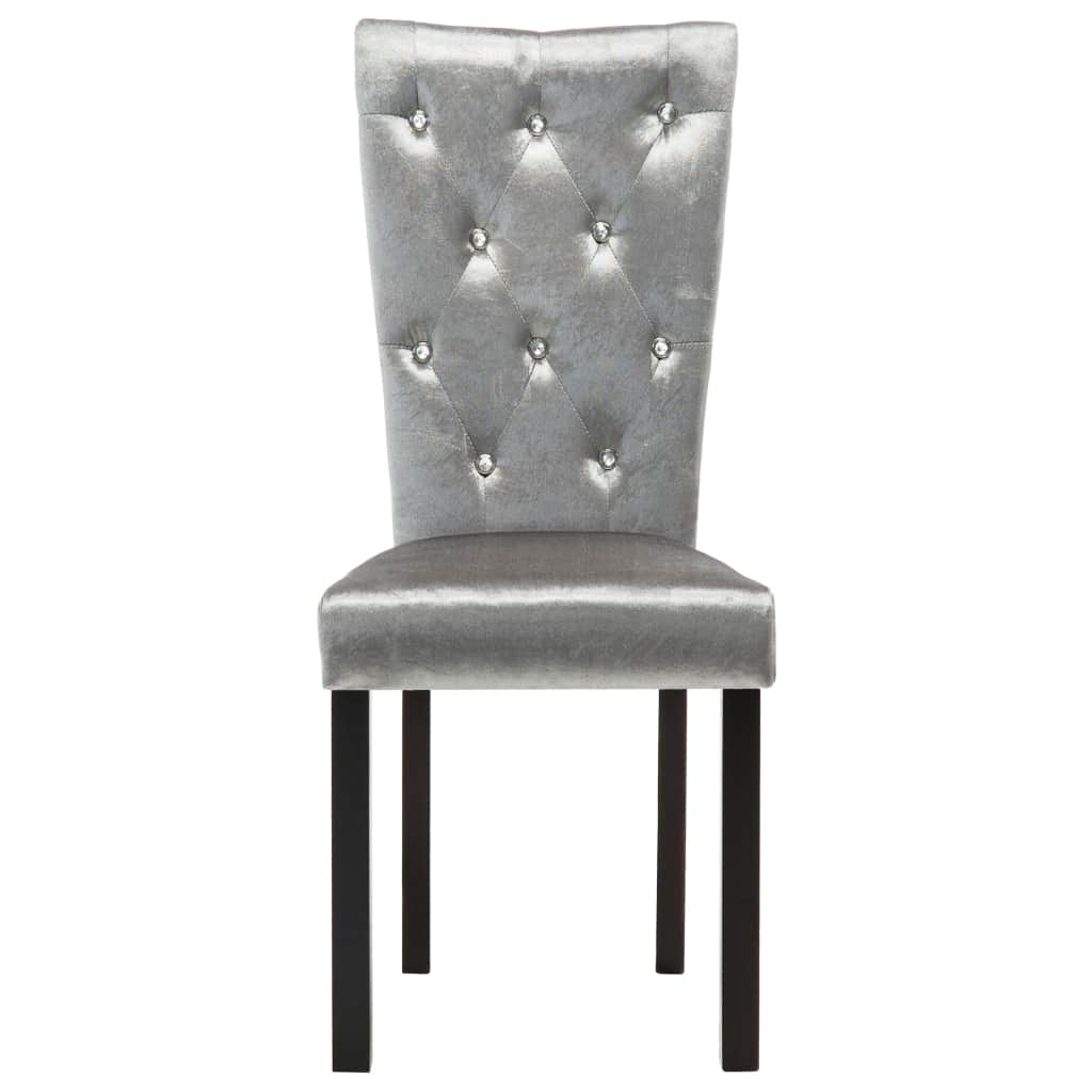 Dining Chairs 6 pcs Silver Velvet 5
