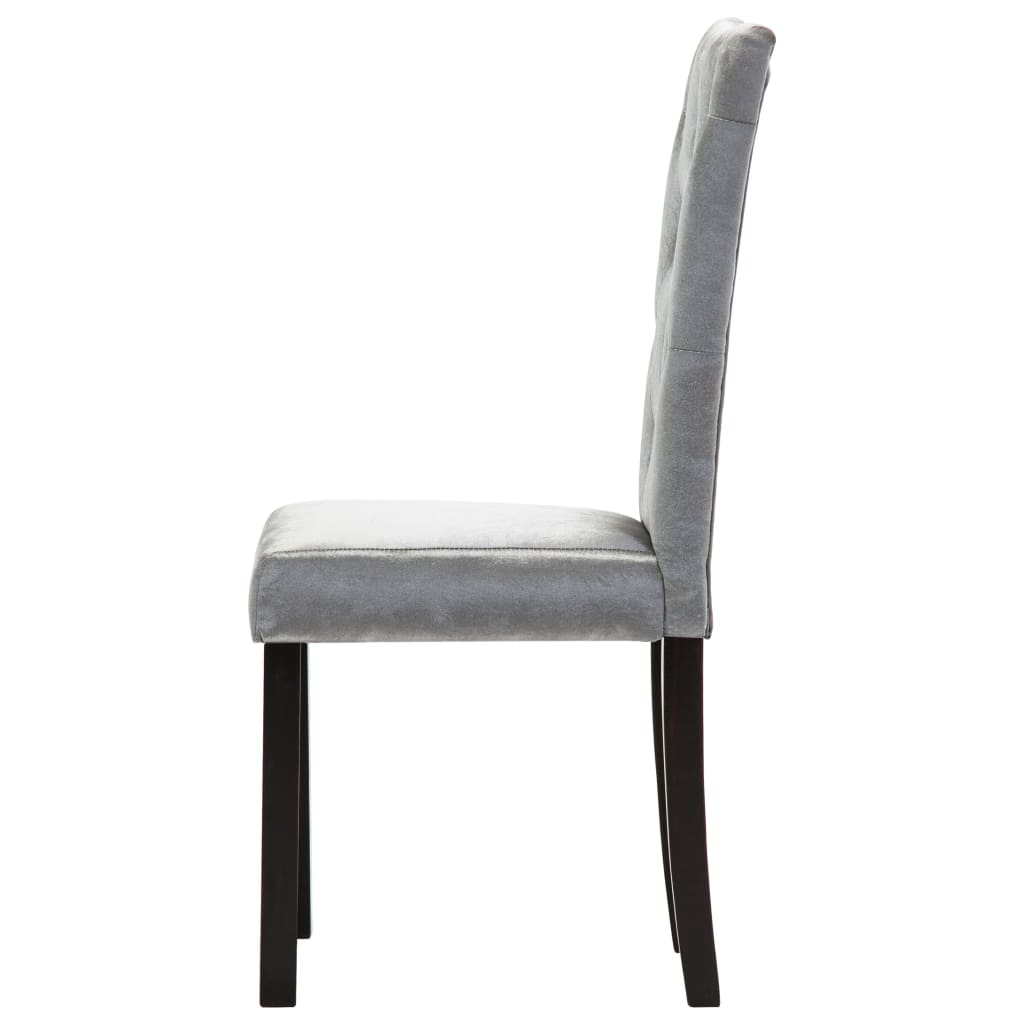 Dining Chairs 6 pcs Silver Velvet 6
