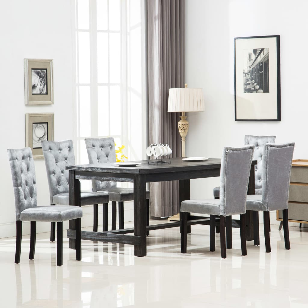 Dining Chairs 6 pcs Silver Velvet