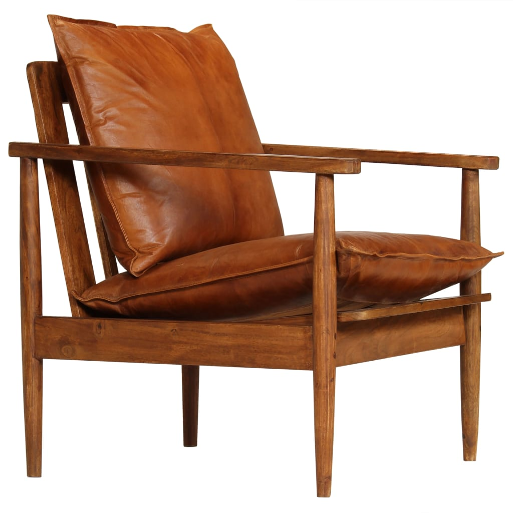 Armchair Brown Real Leather with Acacia Wood 1