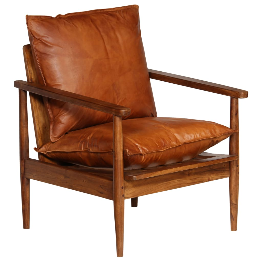 Armchair Brown Real Leather with Acacia Wood 11