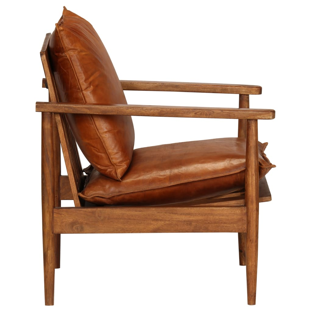 Armchair Brown Real Leather with Acacia Wood 3