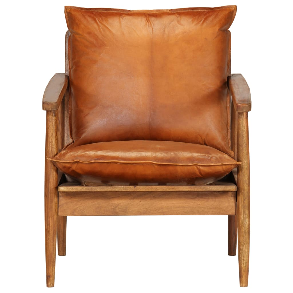 Armchair Brown Real Leather with Acacia Wood 4