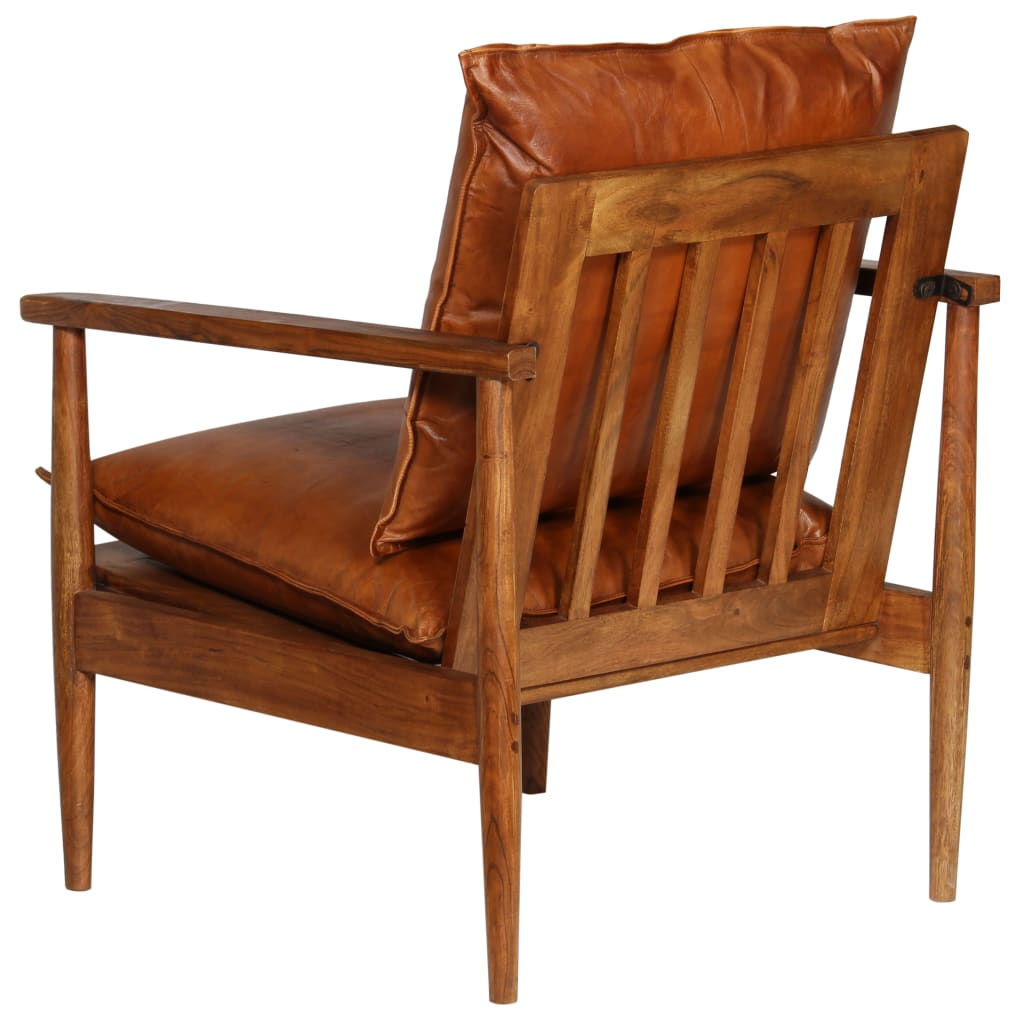 Armchair Brown Real Leather with Acacia Wood 6