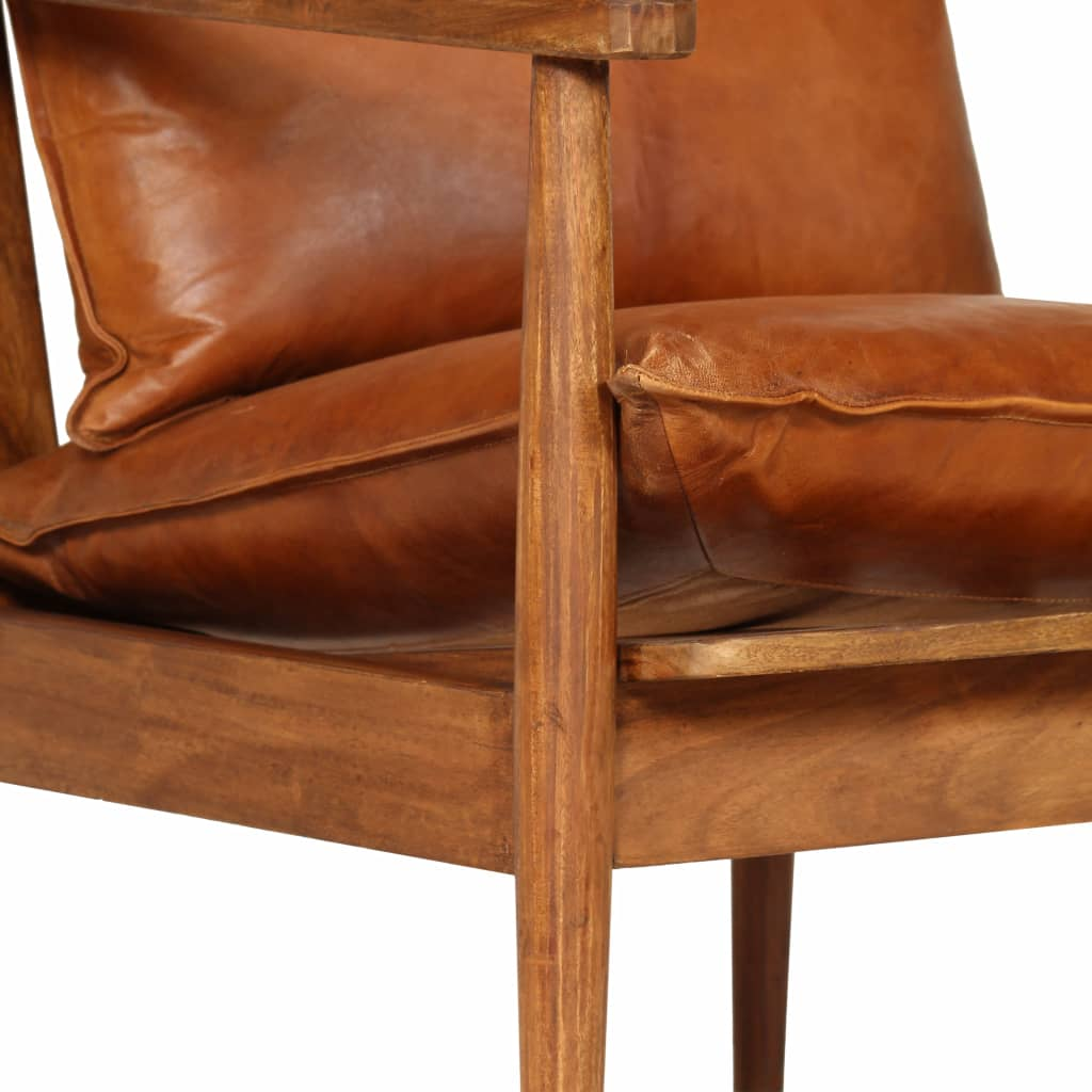 Armchair Brown Real Leather with Acacia Wood 8