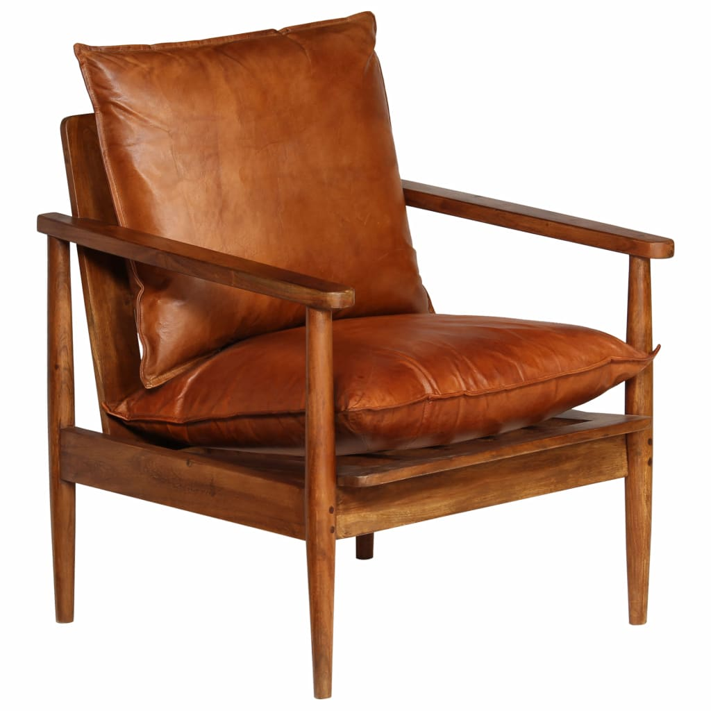 Armchair Brown Real Leather with Acacia Wood 9