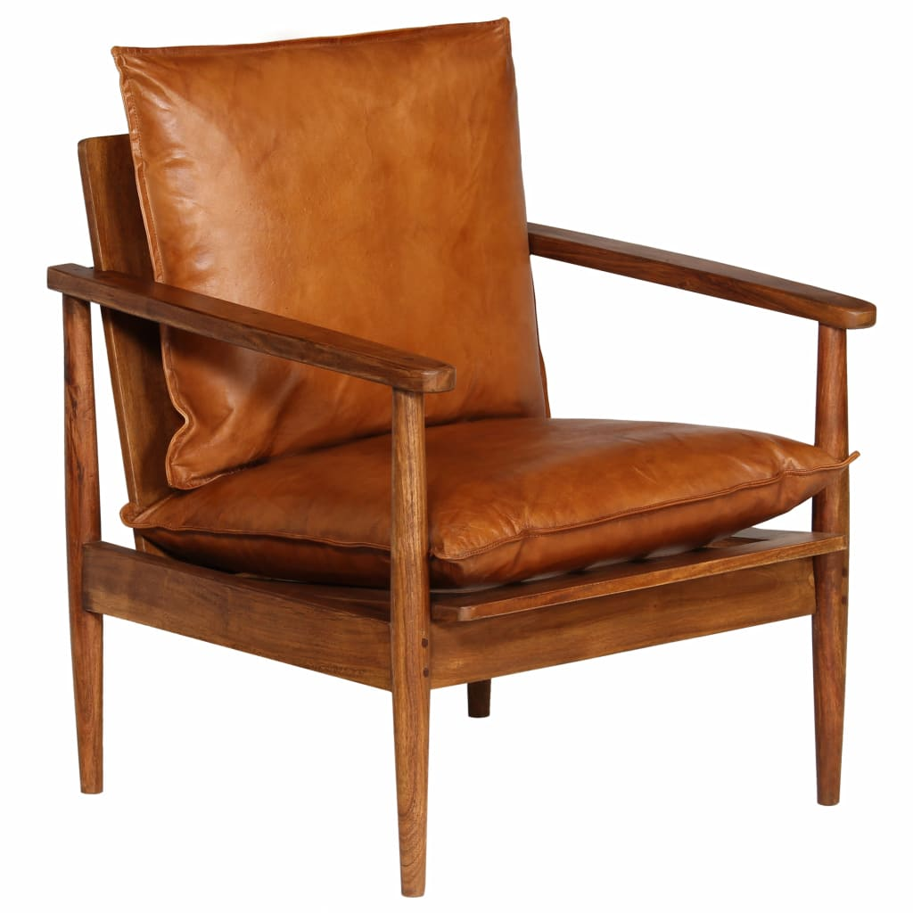 Armchair Brown Real Leather with Acacia Wood 10