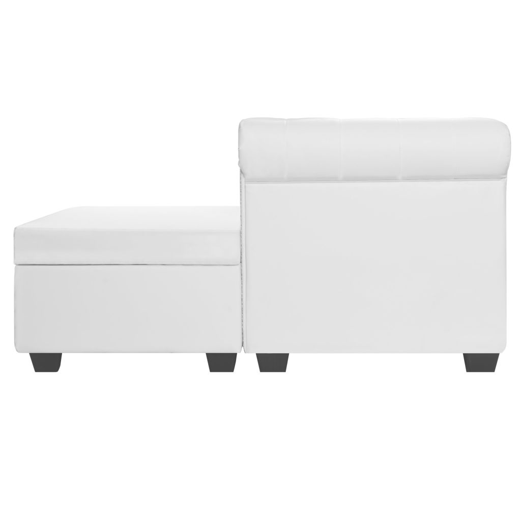 L-shaped Chesterfield Sofa Artificial Leather White 3