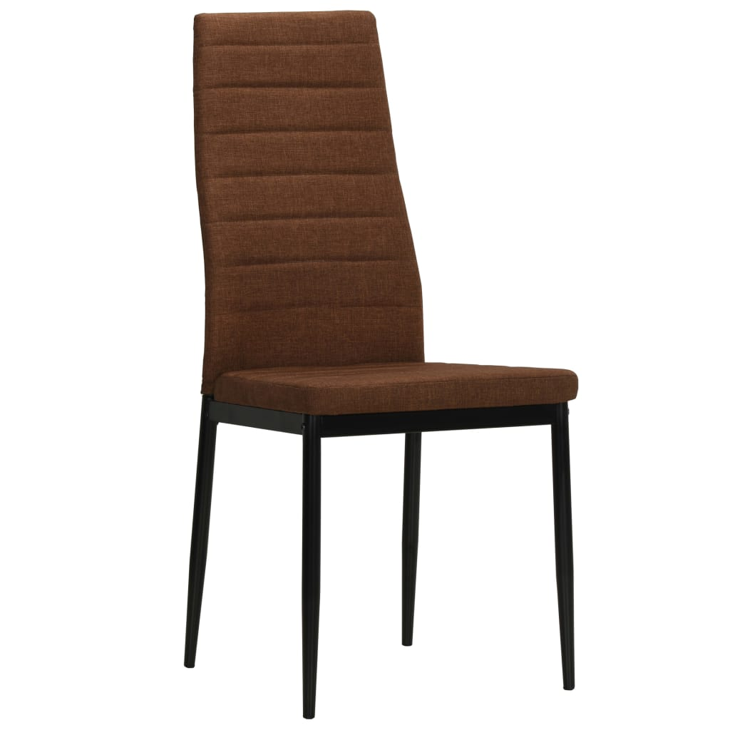 Dining Chairs 4 pcs Brown Fabric 3