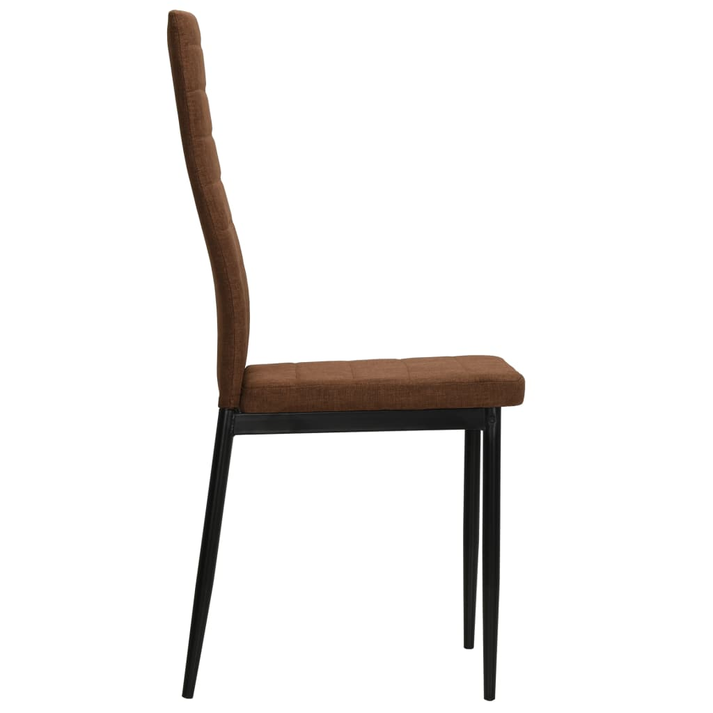 Dining Chairs 4 pcs Brown Fabric 5