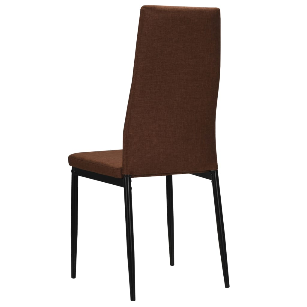Dining Chairs 4 pcs Brown Fabric 6