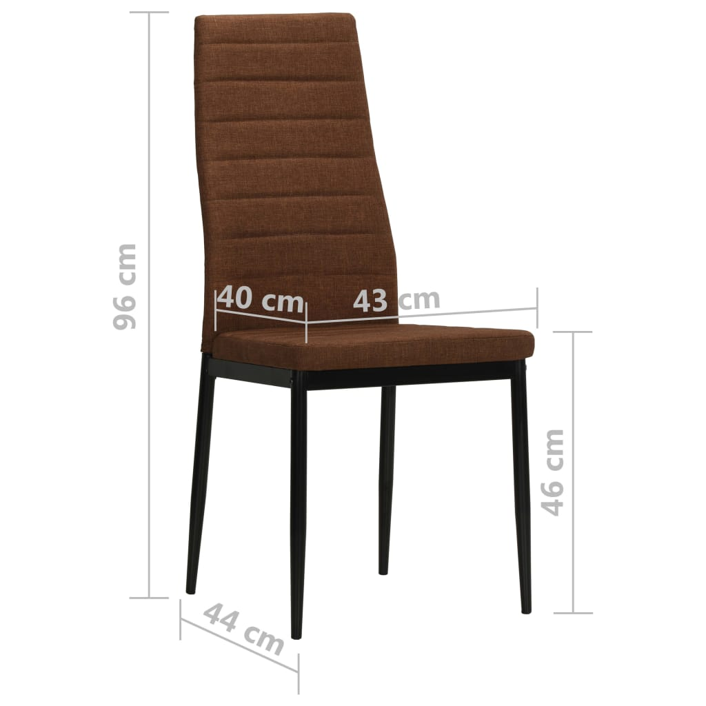 Dining Chairs 4 pcs Brown Fabric 8