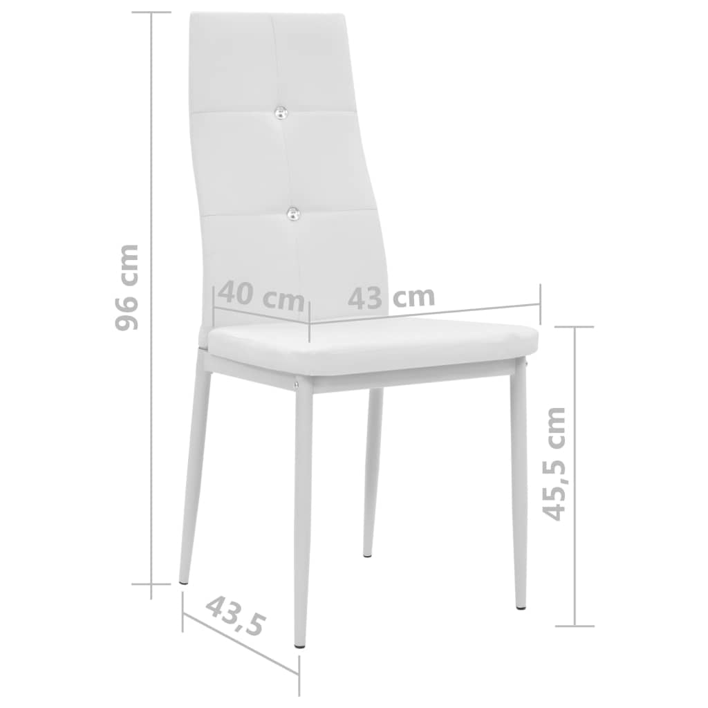 Dining Chairs 4 pcs White Faux Leather 9